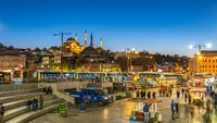 Suleymaniye Mosque with Istanbul city skyline at night in Turkey
