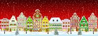 City winter snow night Christmas
