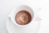 Espresso coffee in white cup