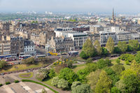 Cityscape Edinburgh with Princes Street gardens, Aerial view from castle
