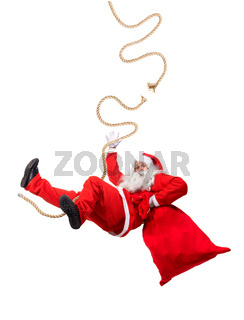 Funny Santa Claus cling on a broken rope with a bag full of x-mas gifts. Falling Santa carry sack with gift box.