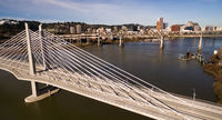Transit Bridge Carries Buses Trains and Pedestrians over the Willamette River in Portland