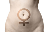 female venus symbol on womb or stomach or belly of woman