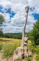 Wooden lantern sculpture in Banstead Woods