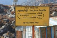 Directional sign in Kyangjing Gumba, Langtang National Park.