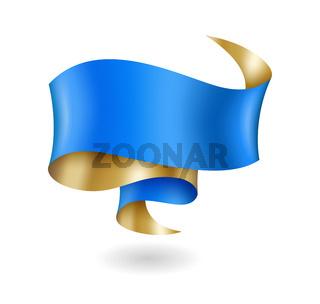 Vintage blue and gold ribbon, banner template, design element