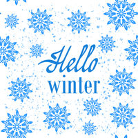 Hello Winter Typographic Poster. Hand Drawn Phrase. Lettering on Snowflake Background