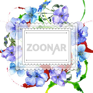 Blue flax flower. Floral botanical flower.Frame border ornament square.