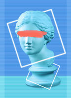 Modern conceptual art poster with green blue colorful antique Venus bust. Contemporary art collage.