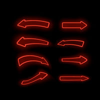 Set of Different Neon Red Arrows