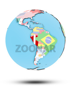 Peru on political globe with flags