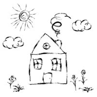 Cute child's hand drawn house with meadow and sun on white