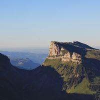 Schibe, mountain seen from Mount Niederhorn, Bernese Oberland. Switzerland.