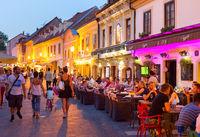 Tourist street restaurant Zagreb Croatia