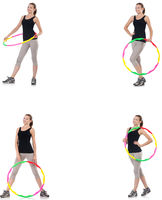 Young woman with hula hoop isolated on white
