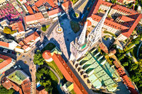 Zagreb cathedral and Dolac marketplace aerial view