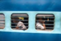 Anonymous people in India in railway transport