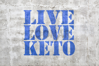 Live, love keto -  graffiti on stucco wall