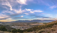 Sunset panorama of Utah Valley with large Sky