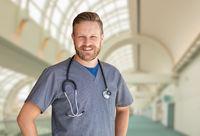 Caucasian Male Nurse Inside Hospital Building