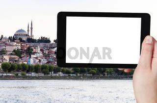quayside in Fatih district in Istanbul city