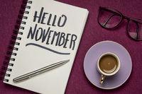 Hello November  handwriting