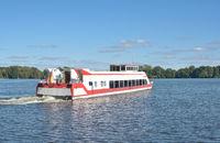 Ausflugsschiff im Mueritz Nationalpark,Mecklenburger Seenplatte,Mecklenburg-Vorpommern,Deutschland
