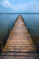 Wooden pier at silence lake, fall colors