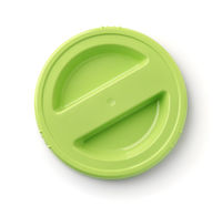 Top view of green round plastic lid