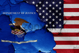 flags of Department of Justice and USA