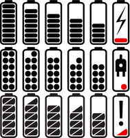Set flat web icons charge level indicators, batteries and accumulators
