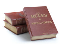 Rules and regulations books with official instructions and directions of organization or team isolated on white background.