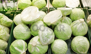 close up of cabbage at grocery store or market