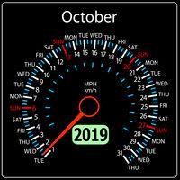 The 2019 year calendar speedometer car October.