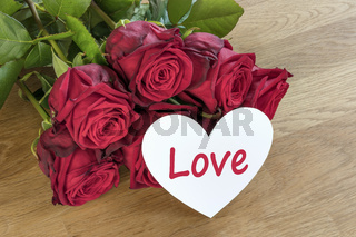 Red roses with love heart