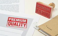 A red stamp on a document - Premium Quality