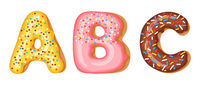 Donut icing upper latters - A, B, C. Font of donuts. Bakery sweet alphabet. Donut alphabet latters A b C isolated on white background