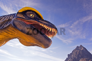 Lebensgrosses Modell eines Dinosauriers am Lac d'Emosson