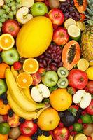 Fruits collection food background portrait format apples oranges lemons fresh fruit