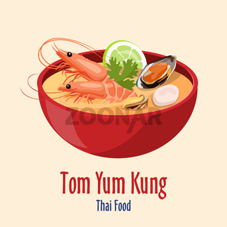 Tom Yum Kung - Red bowl with tasty seafood soup with shrimps lime and oysters, Thai cuisine