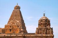 Shikharas or Vimana, Amman shrine and Brihadisvara Temple , Tanjore, Tamil Nadu