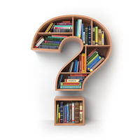 Question mark as bookshelf with books. Search and education concept.