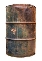Isolated Rusty Old Barrel