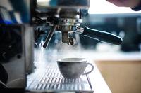 coffee machine in a bar close up.