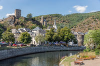 Cityscape at medieval Esch-sur-Sure with river and castle ruin, Luxembourg