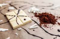 Delicious and sweet white chocolate and cocoa powder