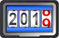 2019 New Year counter, change calendar illustration