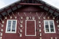 Hauswand mit Hirschgeweihen