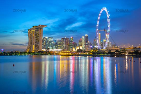 View of Singapore city skyline with landmark buildings at night