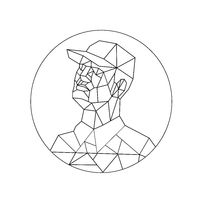Union Worker Looking Up Low Polygon Black and White